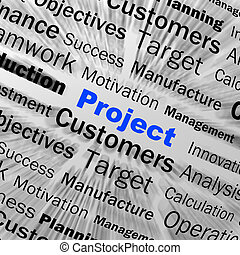 定義, 管理, 代表団, プロジェクト, 球, ディスプレイ