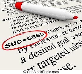 定義, 辞書, 一周される, 意味, 成功, 単語