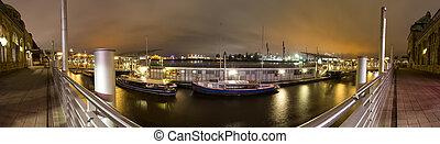 定義, landungsbruecken, 港口, 全景, 夜晚, 高, 漢堡