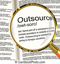 定義, suppliers, outsource, subcontracting, magnifier, 提示