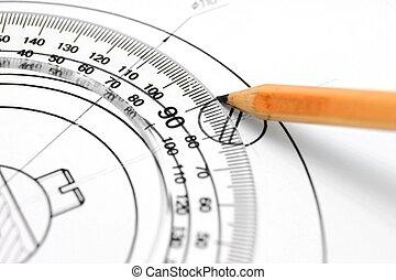 定規, 図画, pencil.