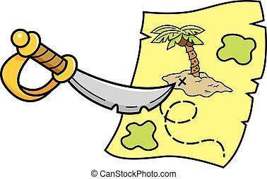 宝物, 指すこと, map., 漫画, 剣