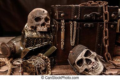 宝物, 消えなさい, 胸, 装置, fortune., 人間, 発見, 探検家, gold., 海賊, skull.