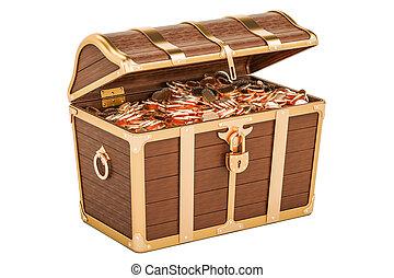 宝物 箱, フルである, の, 金, 3d, レンダリング