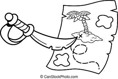 宝物, map., 剣, 指すこと, 漫画