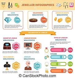 宝石屋, セット, infographics