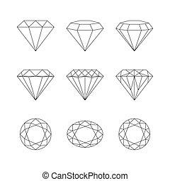 宝石用原石, パターン, faceting, バックグラウンド。, ベクトル, ダイヤモンド, 白