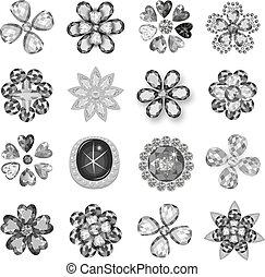宝石用原石, greyscale, 宝石類, ブローチ, 花木型, セット