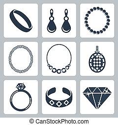 宝石類, ベクトル, セット, 隔離された, アイコン