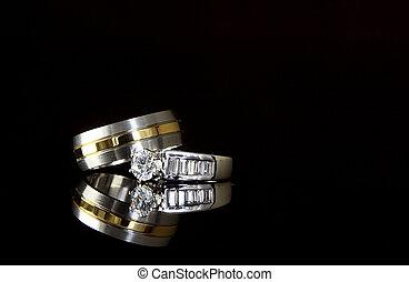宝石類, 上に, 黒, サテン