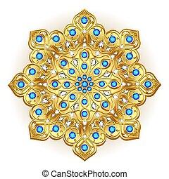 宝石類, mandala, デザイン, ブローチ, 要素