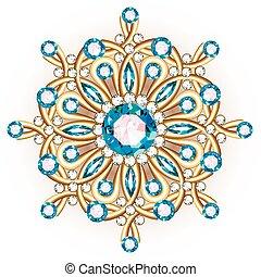 宝石類, mandala, パターン, 種族, ブローチ, デザイン, 民族, 花, とても, stones., ...