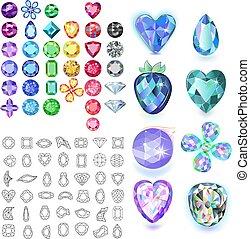 宝石, セット, 有色人種