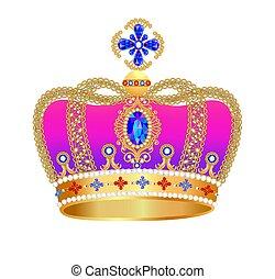 宝石, 王冠, イラスト, 金, 皇族