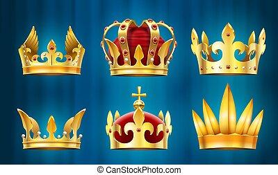 宝石, 王, 宝石, 君主, 王冠, ベクトル, セット, 石, 現実的, 皇族, crown.