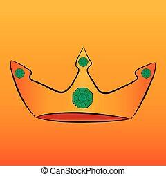 宝石, 緑, 王冠, 金