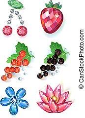 宝石, 花, 有色人種, フルーツ, brooches