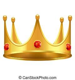宝石, 金の王冠, 現実的, ベクトル, 3d, アイコン