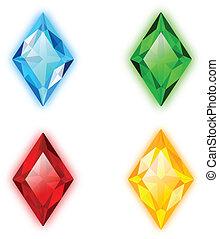 宝石, 4, セット, rhomb, 形づくられた
