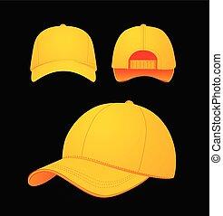 実物大模型, 帽子, イラスト, 暗い, バックグラウンド。, ベクトル, 野球, デザイン