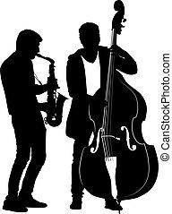 実行, 通り, 構成, ミュージカル, 音楽家, シルエット, サクソフォーン, チェロ