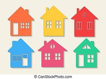 実質, アイコン, estate., set., コレクション, 家, 家, カラフルである, concept., アイコン
