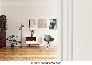実質, アパート, 食器棚, 金, 写真, 白, 灰色, ランプ, ∥間に∥, 内部, 椅子, 花, plant.