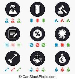実質, オークション, 印。, 財産, icons., キー, 家