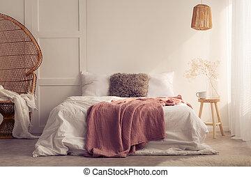 実質, クッション, 写真, 毛布, ベッド, ランプ, 藤, chair., 寝室, 内部, 白い赤