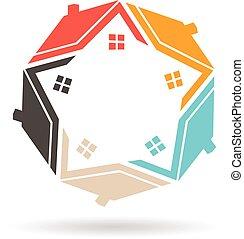 実質, グラフィック, 財産, ベクトル, 家, デザインを設定しなさい, logo.