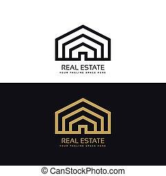 実質, スタイル, 財産, デザイン, ロゴ, 線, 最小である