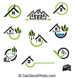 実質, セット, 自然, 財産, ビジネス アイコン, 家, 要素, バックグラウンド。, 白
