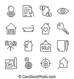 実質, セット, 財産, 単純である, 関係した, ベクトル, icons., 線