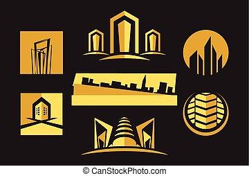 実質, セット, 財産, &, 建設, アイコン