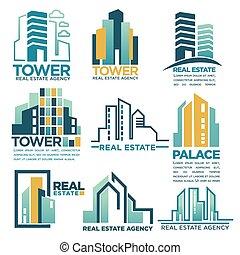 実質, テンプレート, 建物, 超高層ビル, 財産, アイコン, 会社, 代理店, 家, ベクトル, ∥あるいは∥