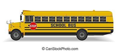 実質, バス, 学校, 白い背景