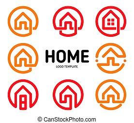 実質, ロゴ, スタイル, アパート, アウトライン, 財産, アイコン, 単純である, collection., set., 隔離された, 創造的, ビジネス, logotype., ベクトル, 家, 家, icon.