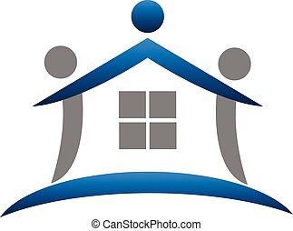 実質, ロゴ, チームワーク, 財産, 家