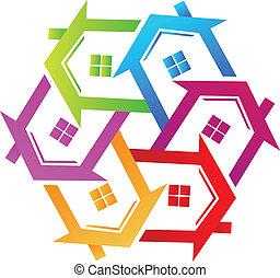 実質, ロゴ, ベクトル, 財産, カラフルである