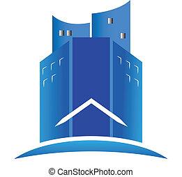 実質, ロゴ, 建物, 現代, 財産