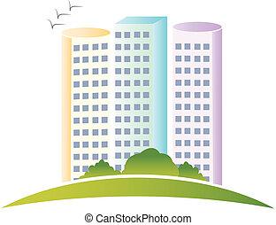 実質, ロゴ, 建物, 財産