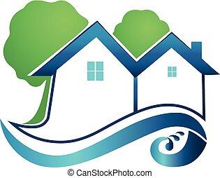 実質, ロゴ, 木, 財産, 家