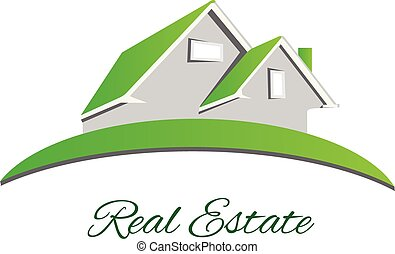 実質, ロゴ, 緑, 財産, 家
