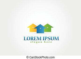 実質, ロゴ, 財産, 家