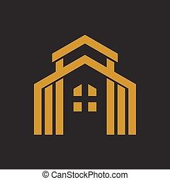 実質, ロゴ, 財産, 金