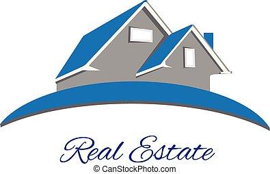 実質, ロゴ, 青, 財産, 家