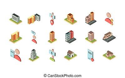 実質, 位置, 等大, アイコン, 建物, 財産, セット