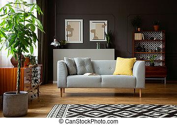 実質, 写真, の, a, 反響室, 内部, ∥で∥, a, ソファー, 木, 絵画, そして, 型, 食器棚