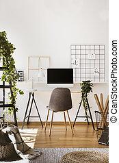 実質, 写真, 灰色, デスクトップ, ランプ, コンピュータ, chair., 机, 内部, 白, freelancer's, 植物