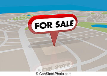 実質, 地図ピン, 財産, 家, セール, イラスト, リスト, 家, 3d